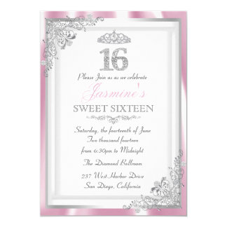 """El damasco del diamante y el dulce rosados de invitación 5"""" x 7"""""""