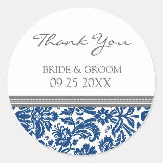 El damasco del gris azul le agradece las etiquetas etiqueta redonda