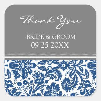 El damasco del gris azul le agradece las etiquetas calcomania cuadrada personalizada