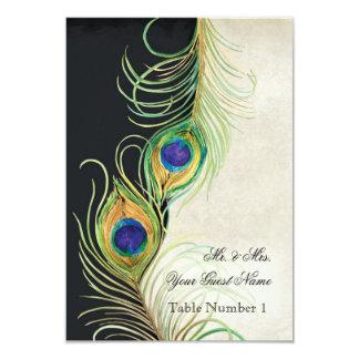 El damasco del negro de la pluma del pavo real de invitación 8,9 x 12,7 cm