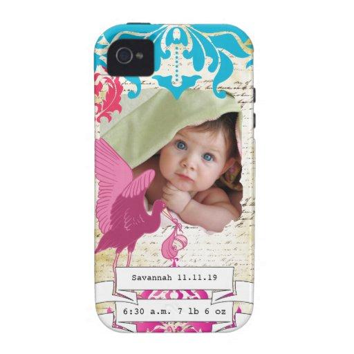 El damasco del Stats del bebé de la foto del bebé  iPhone 4 Fundas