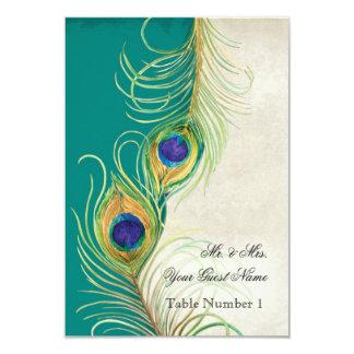 El damasco del trullo de la pluma del pavo real de invitación 8,9 x 12,7 cm