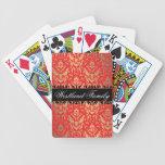 El damasco elegante del reflejo del rojo y del oro baraja de cartas