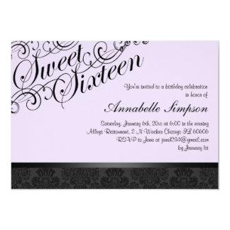 """El damasco elegante púrpura y negro Sweet16 invita Invitación 5"""" X 7"""""""