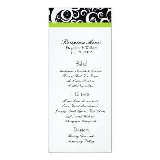 """El damasco elegante remolina menú de la recepción invitación 4"""" x 9.25"""""""
