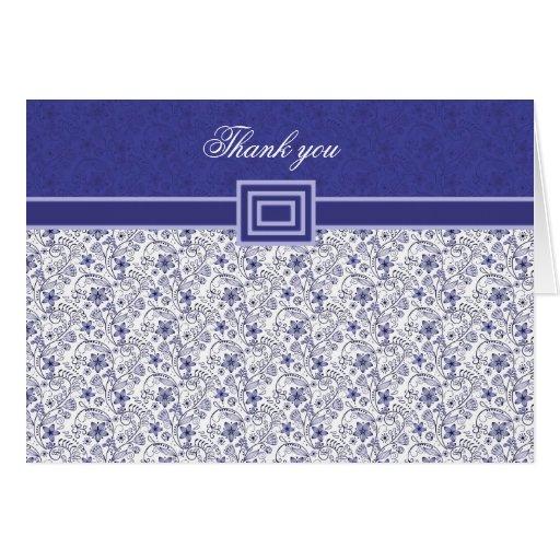 El damasco floral azul elegante le agradece cardar felicitacion