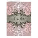 El damasco floral de lujo rosado femenino le agrad felicitación