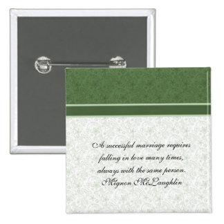 El damasco floral esmeralda elegante cita el botón pin cuadrado