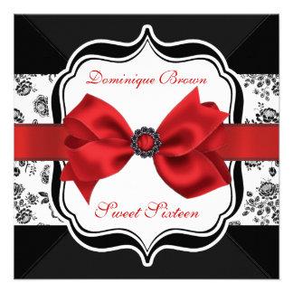 El damasco floral invita con el arco rojo invitacion personal