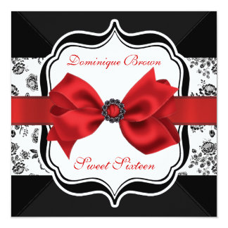 """El damasco floral invita con el arco rojo invitación 5.25"""" x 5.25"""""""