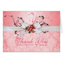 El damasco floral rosado elegante de la cinta le tarjeta de felicitación