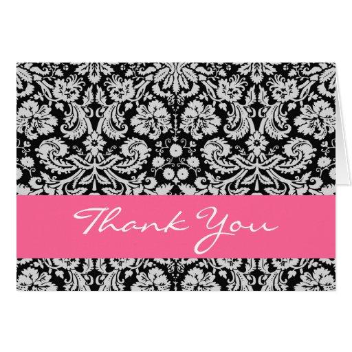 El damasco florido rosado blanco negro le agradece felicitación