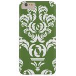 El damasco francés, ornamentos, remolina - blanco funda de iPhone 6 plus barely there