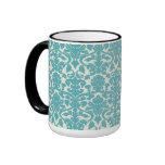 El damasco francés, ornamentos, remolina - blanco taza de café