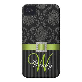 El damasco gris negro de Geen de la cal raya la ca Case-Mate iPhone 4 Carcasas