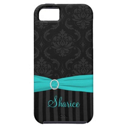 El damasco gris negro de la aguamarina rayó iPhone 5 carcasa