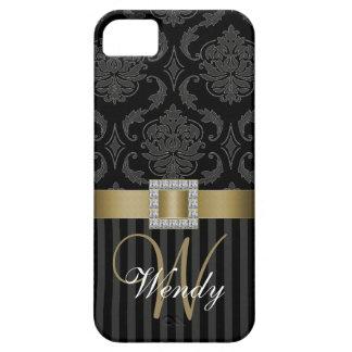 El damasco gris negro del oro raya la caja del iPh iPhone 5 Carcasa