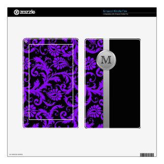 El damasco gris negro púrpura del monograma encien kindle fire pegatinas skins