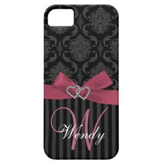El damasco gris negro rosado raya la caja del iPho iPhone 5 Carcasas