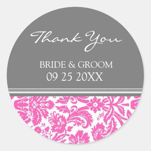 El damasco gris rosado le agradece las etiquetas etiquetas redondas