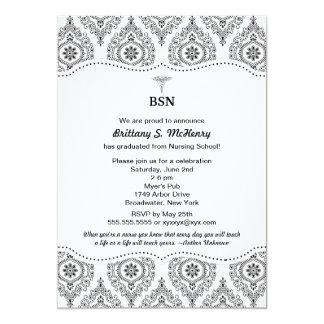 """El damasco moderno BSN RN LPN de la graduación de Invitación 5"""" X 7"""""""
