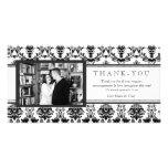 El damasco moderno negro y el blanco le agradecen  tarjeta con foto personalizada
