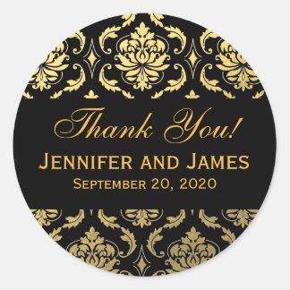 El damasco negro del boda del oro le agradece etiquetas redondas