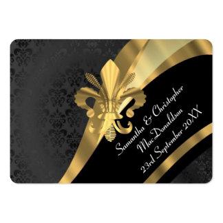 El damasco negro, favor del boda del oro le tarjetas de visita grandes