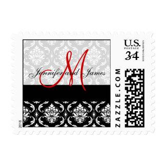 El damasco negro, monograma rojo, nombra el boda timbres postales