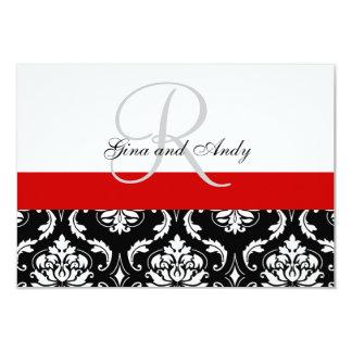 El damasco negro rojo que casa RSVP para el Invitación 8,9 X 12,7 Cm