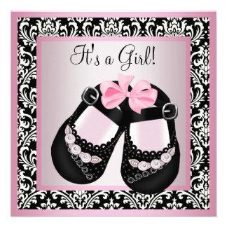 El damasco negro rosado calza la ducha de la niña invitacion personalizada