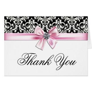 El damasco negro rosado le agradece las tarjetas