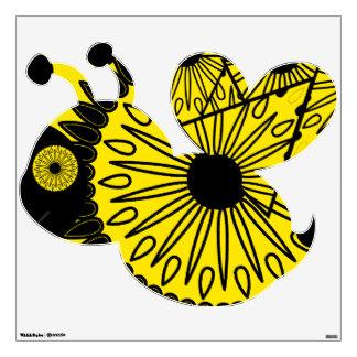 El damasco negro y amarillo manosea la etiqueta de vinilo