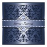 El damasco negro y azul elegante Sweet16 invita Anuncio Personalizado