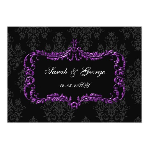 """el damasco negro y púrpura del flourish real invitación 5"""" x 7"""""""