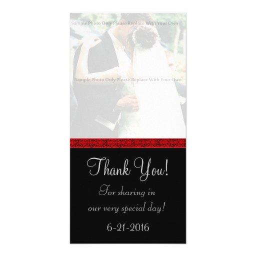 El damasco negro y rojo le agradece cardar tarjeta fotografica personalizada