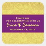 El damasco púrpura amarillo del Grunge le agradece Calcomania Cuadradas Personalizada