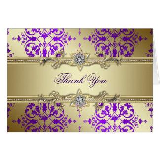 El damasco púrpura del oro le agradece las tarjeta