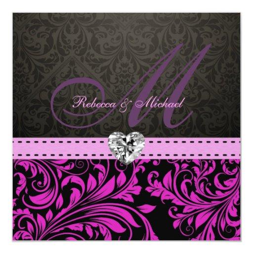 El damasco púrpura elegante con el boda del comunicados