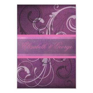 """El damasco púrpura elegante remolina las tarjetas invitación 3.5"""" x 5"""""""