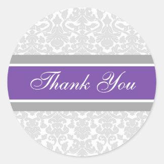 El damasco púrpura le agradece los sellos del pegatina redonda