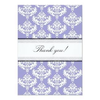 El damasco púrpura y blanco le agradece cardar invitaciones personalizada