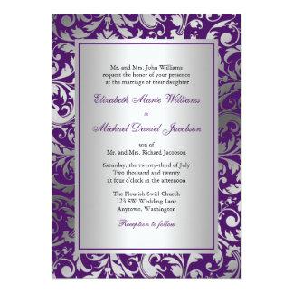 """El damasco púrpura y de plata remolina boda invitación 5"""" x 7"""""""