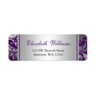 El damasco púrpura y de plata remolina el remite etiquetas de remite