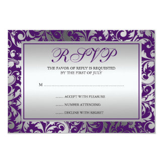 """El damasco púrpura y de plata remolina tarjeta de invitación 3.5"""" x 5"""""""