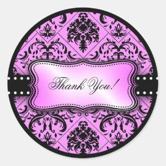 El damasco púrpura y negro hermoso le agradece pegatina redonda