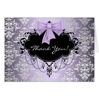El damasco púrpura y negro le agradece las tarjeta
