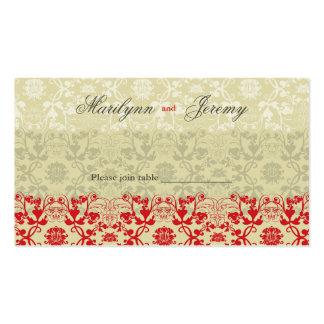 El damasco remolina tabla de la especia del tarjetas de visita