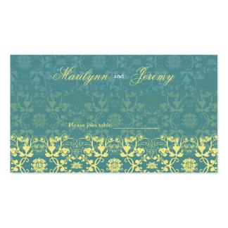 El damasco remolina tabla del pavo real del tarjetas de visita