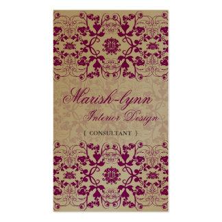 El damasco remolina tarjeta de encargo del perfil tarjetas de visita
